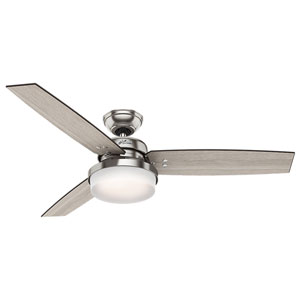 Sentinel Brushed Nickel 52-Inch Two-Light LED Adjustable Ceiling Fan