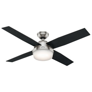 Dempsey Brushed Nickel 52-Inch Two-Light LED Adjustable Ceiling Fan