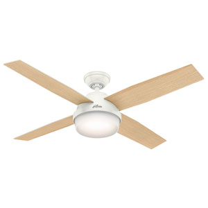 Dempsey Fresh White and Blonde Oak 52-Inch Two-Light LED Adjustable Ceiling Fan