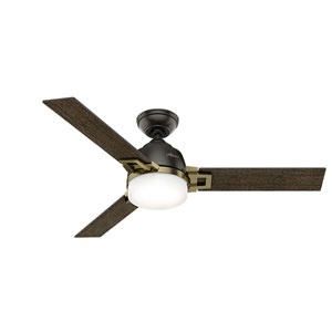Leoni Noble Bronze and Modern Brass 48-Inch Two-Light LED Adjustable Ceiling Fan