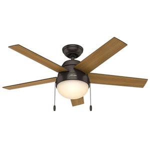Anslee Premier Bronze 46-Inch Two-Light Fluorescent Adjustable Ceiling Fan