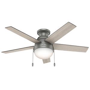 Anslee Matte Silver 46-Inch Two-Light Fluorescent Ceiling Fan