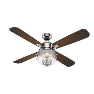 Sophia Polished Nickel 54-Inch Three-Light LED Adjustable Ceiling Fan