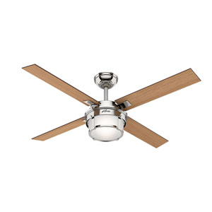 Maybeck Polished Nickel 52-Inch One-Light LED Adjustable Ceiling Fan