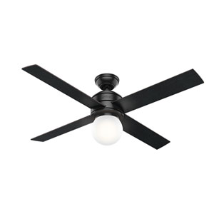 Hepburn Matte Black 52-Inch One-Light LED Adjustable Ceiling Fan