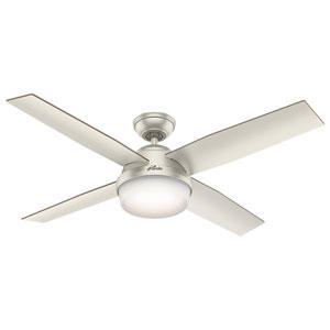 Dempsey Matte Nickel 52-Inch Two-Light LED Adjustable Ceiling Fan