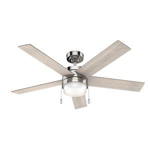 Claudette Polished Nickel 52-Inch LED Ceiling Fan