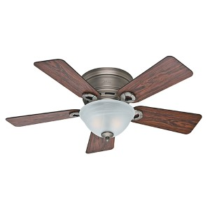 Shop ultra low profile ceiling fan bellacor conroy antique pewter two light 42 inch low profile ceiling fan aloadofball Image collections