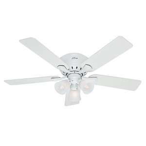 Reinert Snow White Three Light 52-Inch Hugger Ceiling Fan