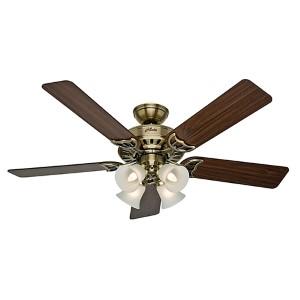 Studio Series Antique Brass Four Light 52-Inch Ceiling Fan