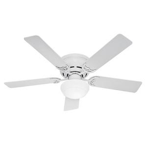 Low Profile III Plus White Fluorescent One Light 52-Inch Hugger Ceiling Fan