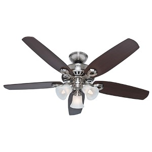 Builder Plus Brushed Nickel Three Light 52-Inch Ceiling Fan