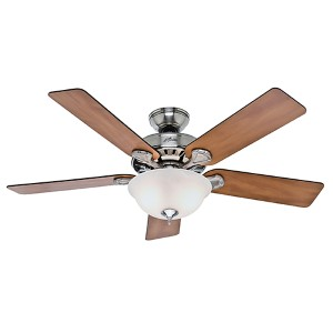 Pros Best Five Minute Fan Brushed Nickel Fluorescent Two Light 52-Inch Ceiling Fan