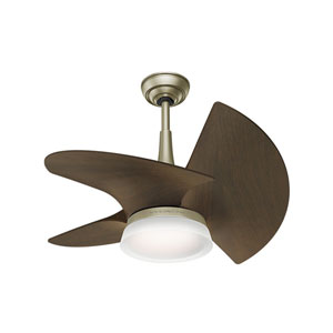 Orchid Pewter Revival 30-Inch LED Ceiling Fan with Walnut Blades