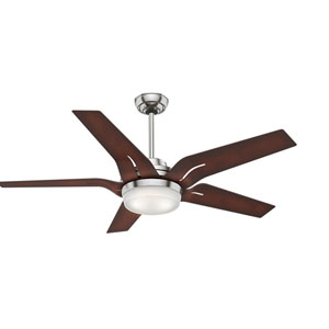 Correne Brushed Nickel 56-Inch LED Energy Star Ceiling Fan with Coffee Beech Blades