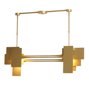 Stretch Gold Two-Light Short Island Pendant