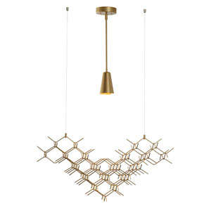 Hive Gold One-Light Long Pendant with Gold Accent