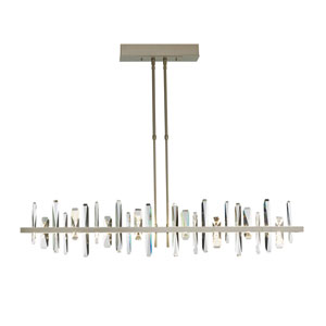 Solitude Natural Iron LED Long Large Pendant with Crystal Accent
