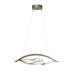 Courbe Burnished Steel LED Pendant with Crystal Accent