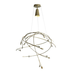 Gaia Bronze One-Light Long Pendant with Crystal Accent