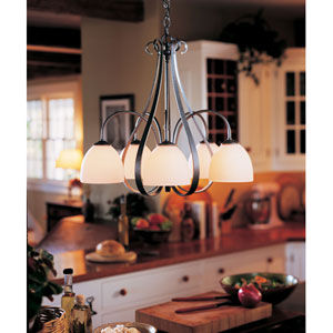 Sweeping Taper Natural Iron Five Light Chandelier with Opal Glass