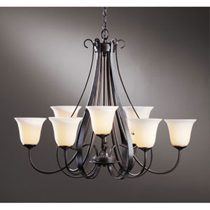 Sweeping Taper Dark Smoke Nine Light Chandelier with Opal Glass