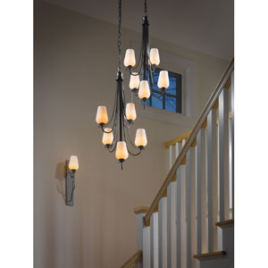 Flora Dark Smoke Five Light Vertical Chandelier with Pearl Glass