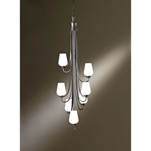 Flora Bronze Seven Light Large Scale Chandelier with Opal Glass
