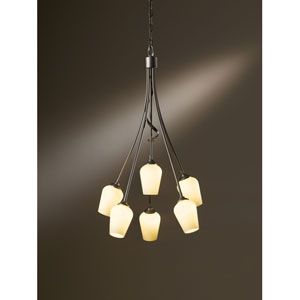Flora Dark Smoke Six Light Chandelier with Stone Glass