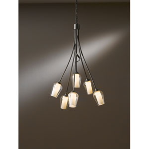 Flora Dark Smoke Six Light Chandelier with Seeded Clear Glass