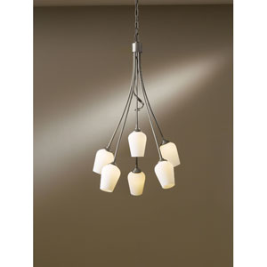 Flora Dark Smoke Six Light Chandelier with Pearl Glass