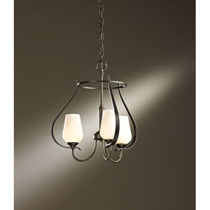 Flora Bronze Three Light Chandelier with Pearl Glass