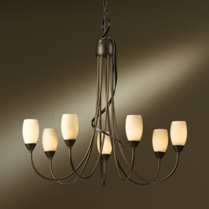 Flora Bronze Seven-Light Chandelier with Stone Glass