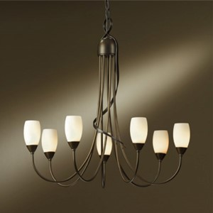Flora Bronze Seven-Light Chandelier with Pearl Glass
