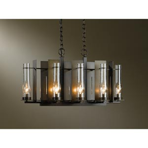 New Town Bronze Eight-Light Chandelier with Seedy Clear Glass