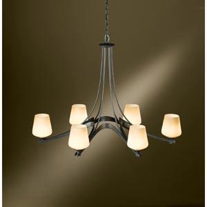 Ribbon Oval Dark Smoke Six-Light Chandelier with Stone Glass