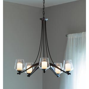 Ribbon Dark Smoke Five-Light Chandelier with Clear Glass with Opal Diffuser