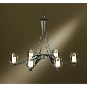 Ribbon Oval Dark Smoke Six-Light Chandelier with Clear Glass with Opal Diffuser