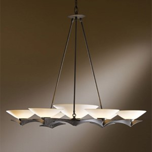 Moreau Bronze Seven-Light Chandelier with Sand Glass