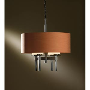 Beacon Hall Dark Smoke Four-Light Chandelier with Terra Micro-Suede Drum Shade