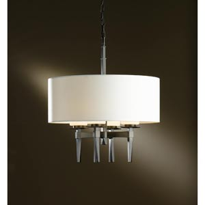 Beacon Hall Dark Smoke Four-Light Chandelier with Natural Anna Drum Shade