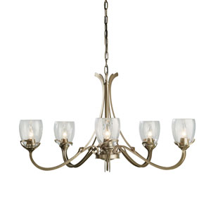 Aubrey Soft Gold Five-Light 34-Inch Chandelier with Water Glass