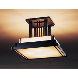 Steppe Four Light Semi-Flush Black with White Art Glass