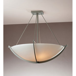 Compass Burnished Steel Three Light Semi-Flush with Opal Glass