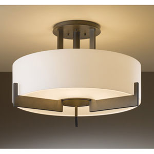 Axis Dark Smoke Three Light Semi-Flush with Opal Glass
