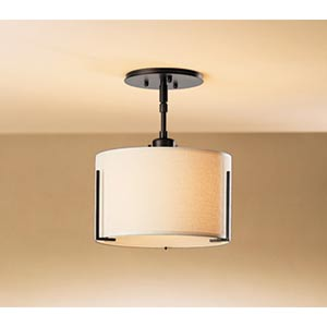 Exos Single Shade Mahogany One-Light Semi-Flush