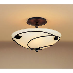 Leaf Mahogany Two Light Semi-Flush with Opal Glass
