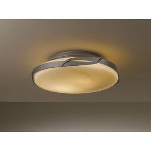 Flora Burnished Steel Two Light Semi-Flush with Stone Glass
