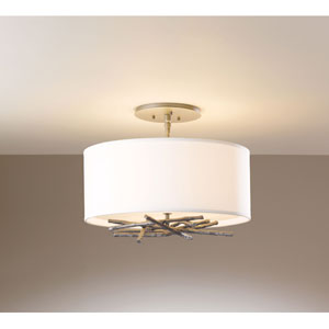 Brindille Burnished Steel Three Light Semi-Flush with Natural Anna Shade