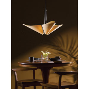 Kirigami Bronze 28.5-Inch Three-Light Pendant with Spun Amber Shade